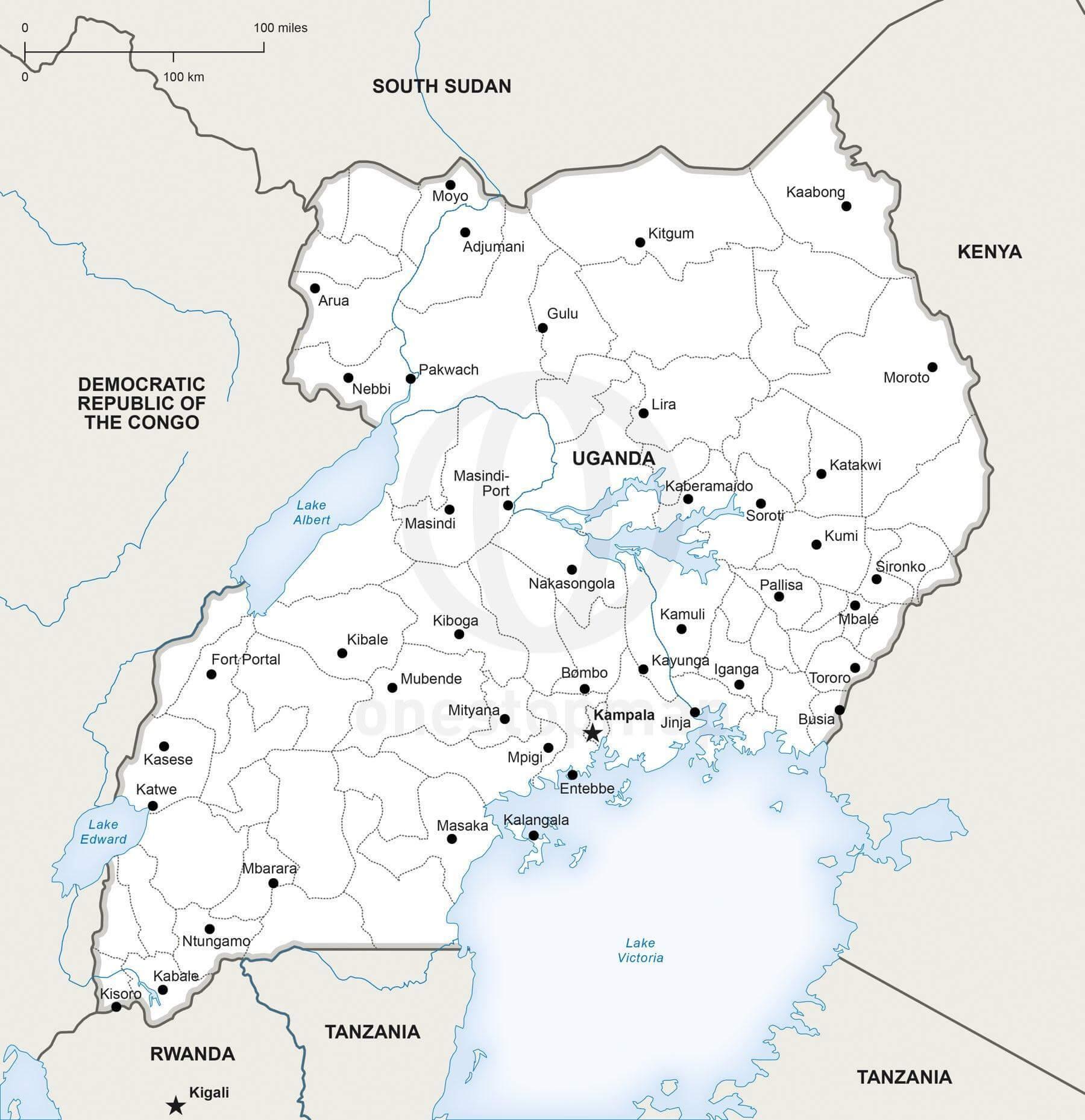Map of Uganda political