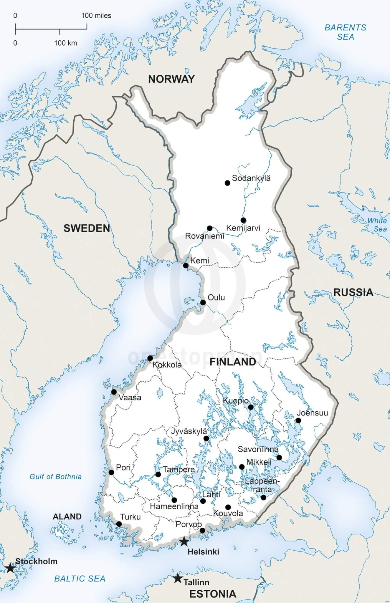 Map of Finland political
