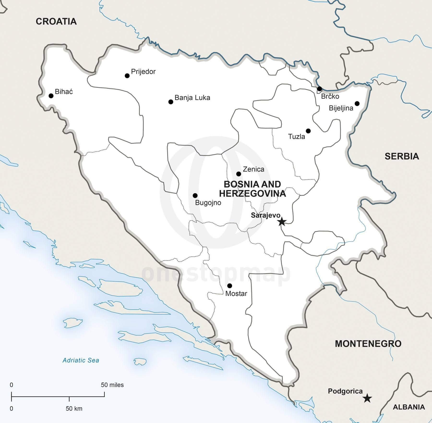 Map of Bosnia and Herzegovina political