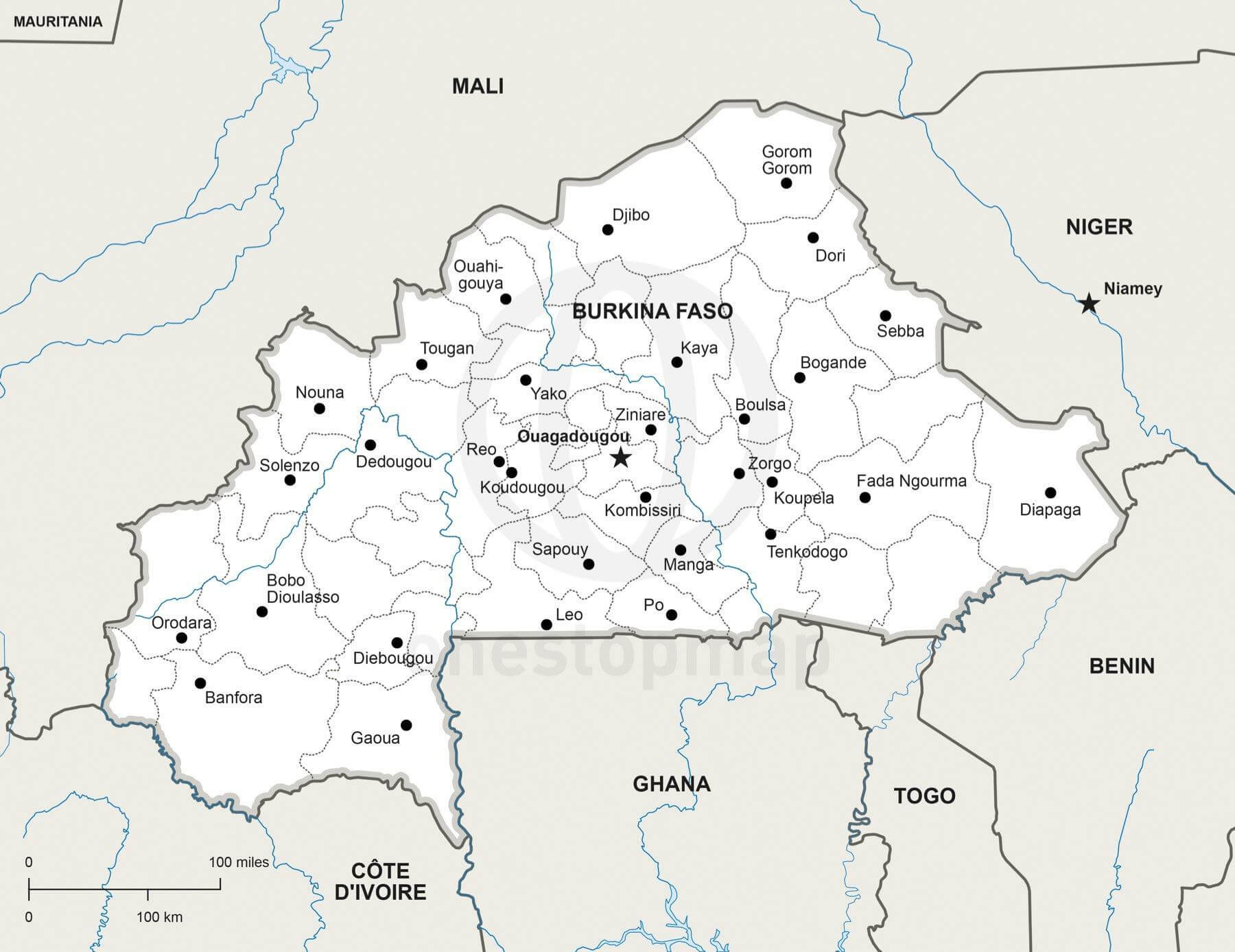 Map of Burkina Faso political