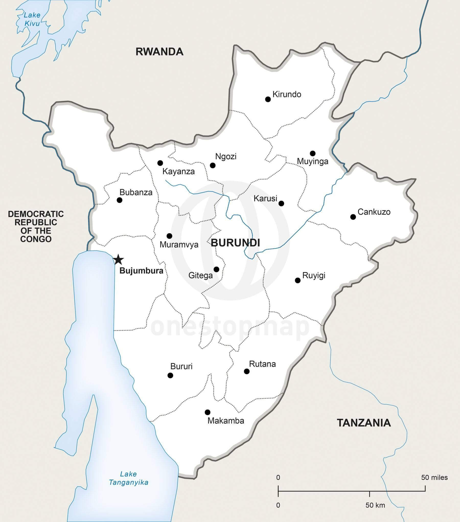 Map of Burundi political