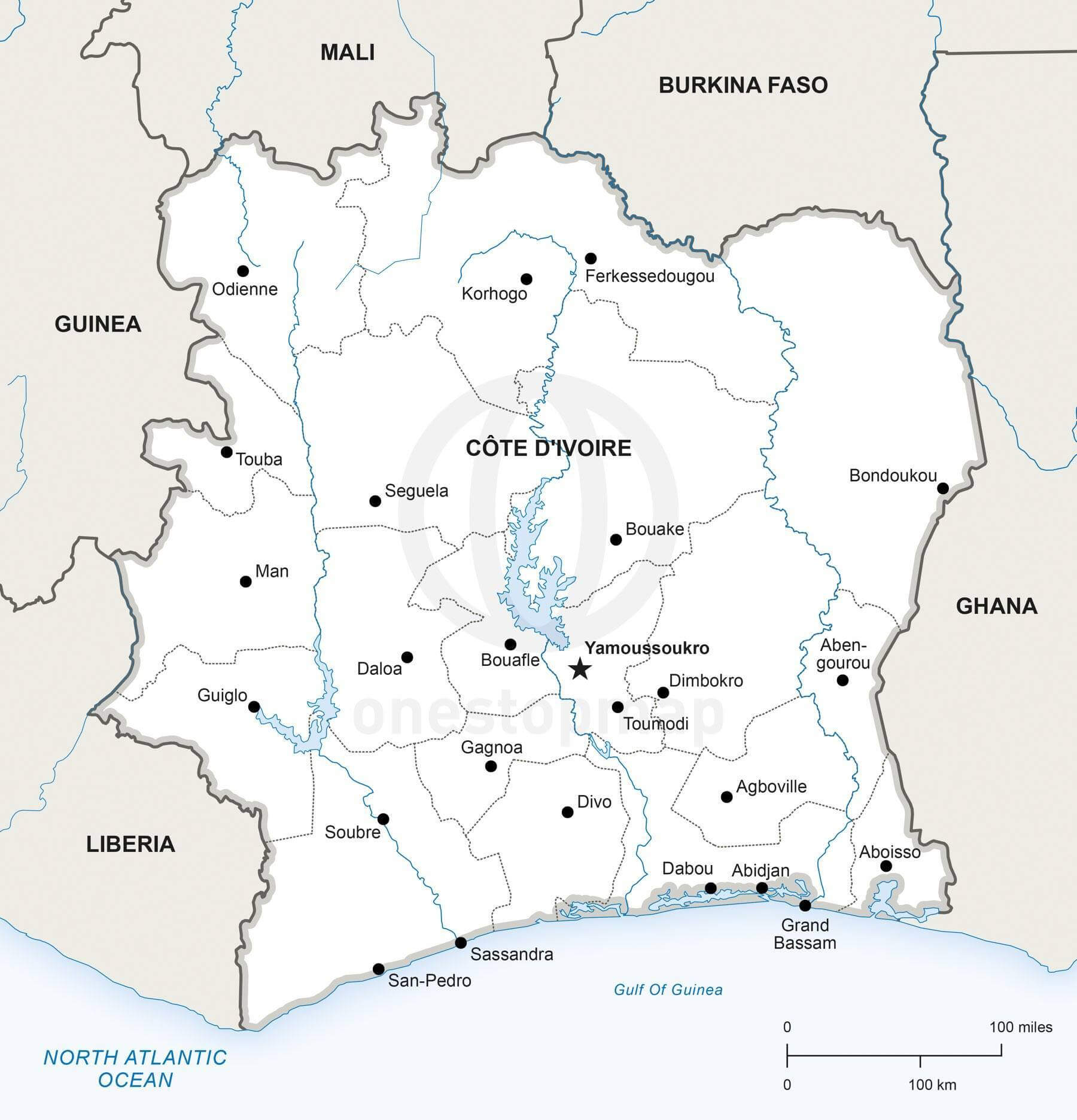 Map of Côte d'Ivoire political
