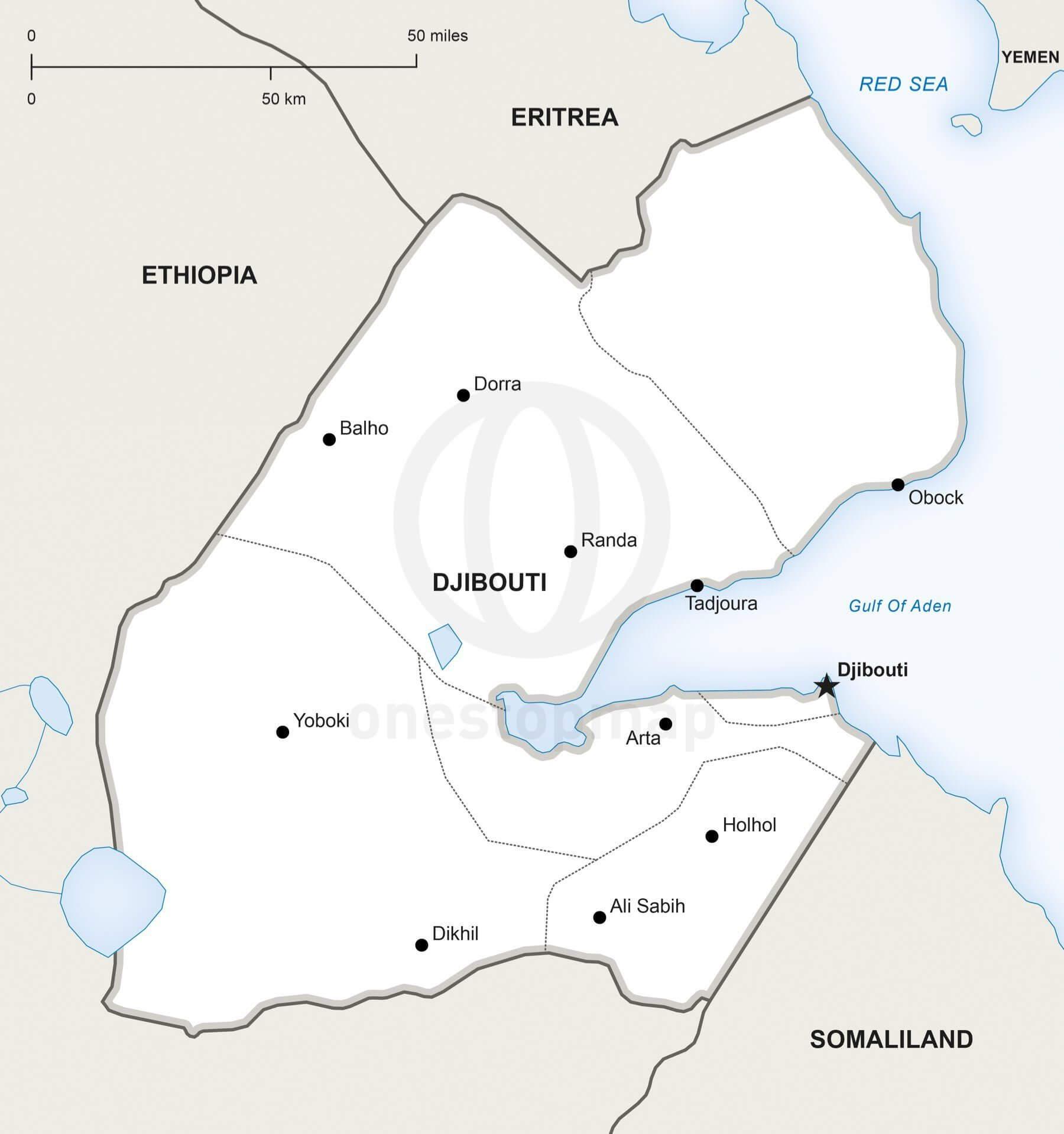 Map of Djibouti political