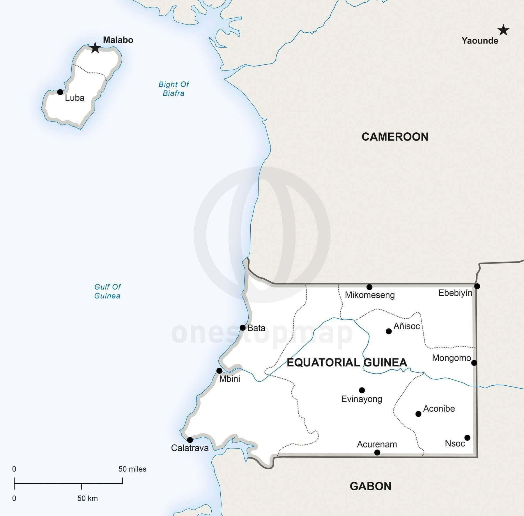 Map of Equatorial Guinea political