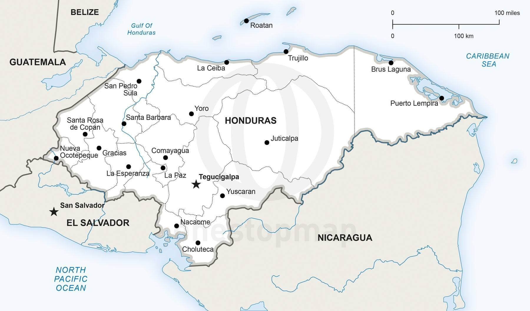 Vector map of Honduras political