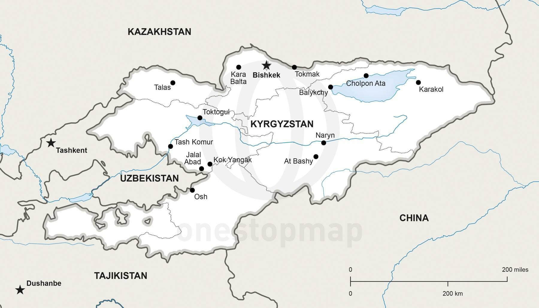 Map of Kyrgyzstan political