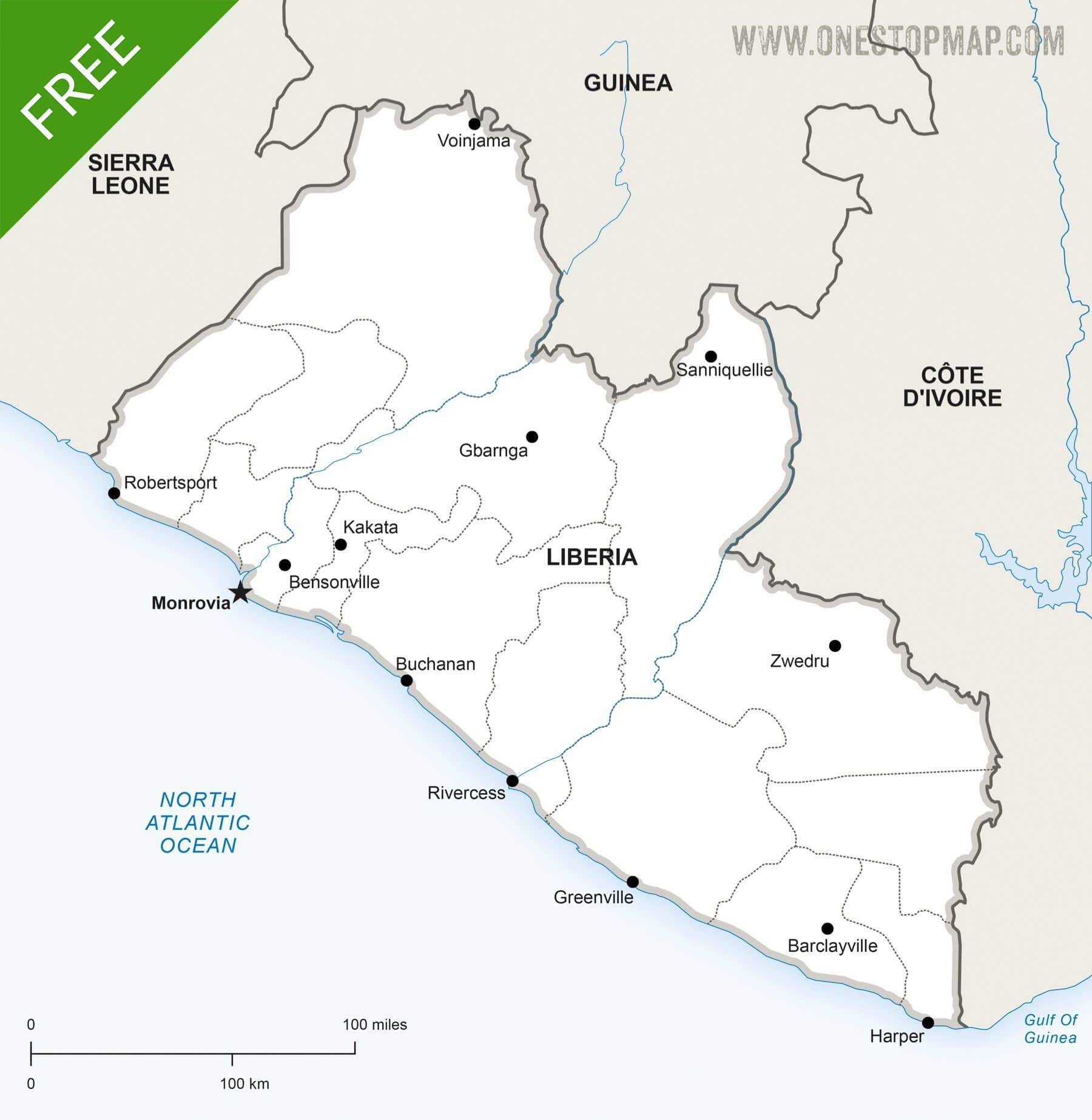 Map of Liberia political