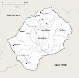 Map of Lesotho political