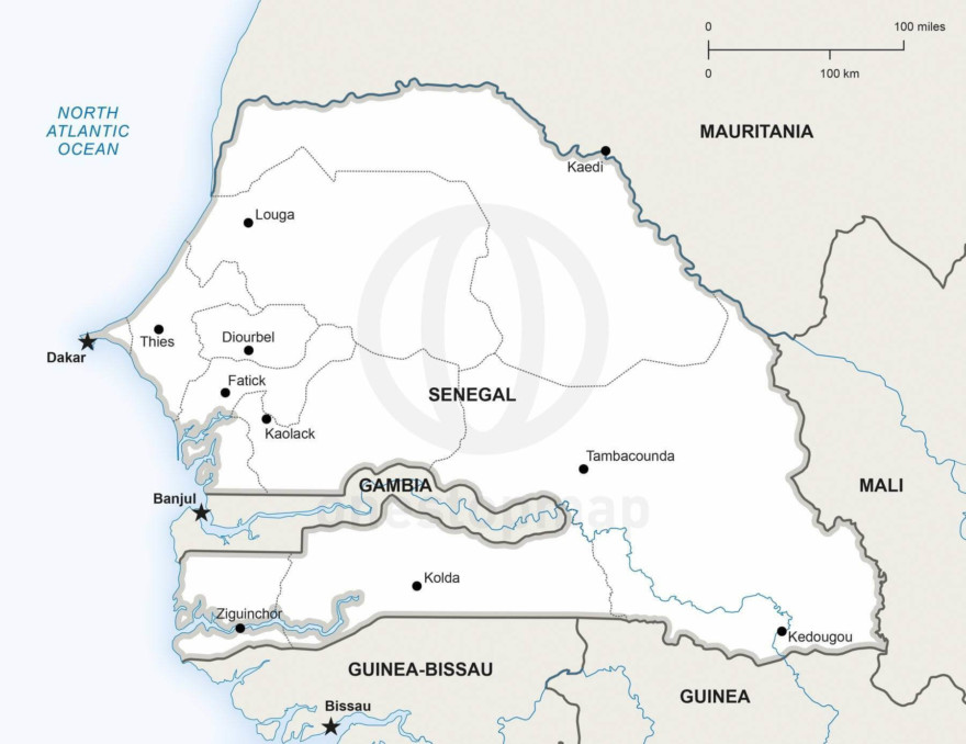 Map of Senegal political