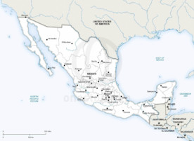 Map of Mexico political