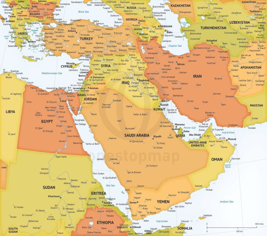Map of Middle East political high detail