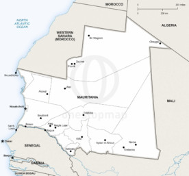 Map of Mauritania political