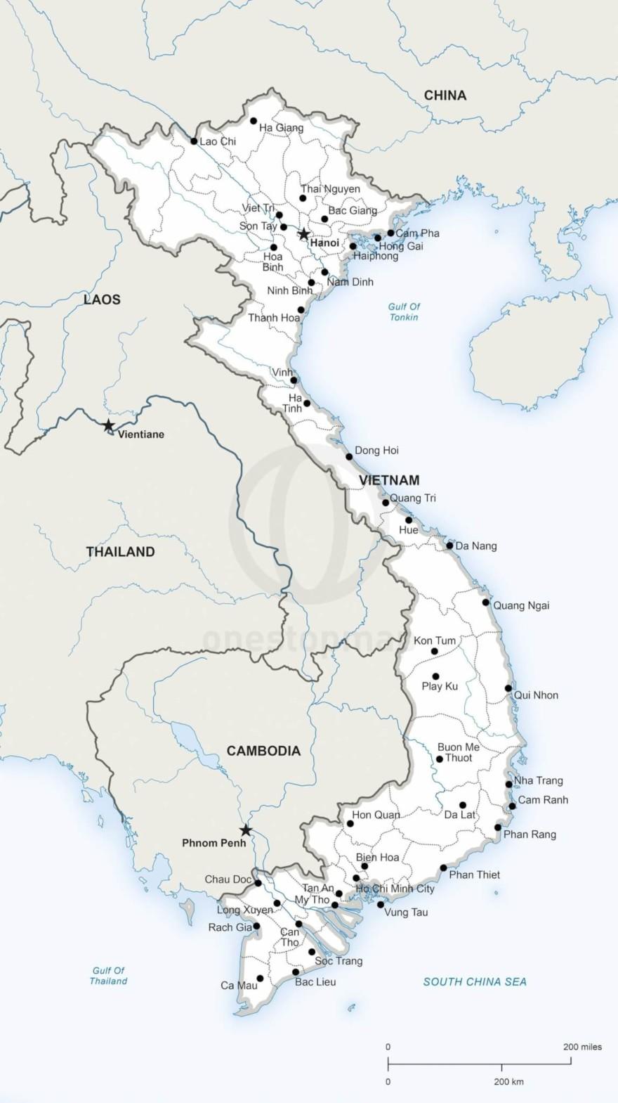 Vector map of Vietnam political