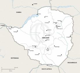 Vector map of Zimbabwe political