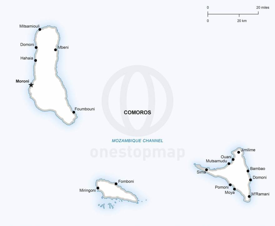 Vector map of Comoros political