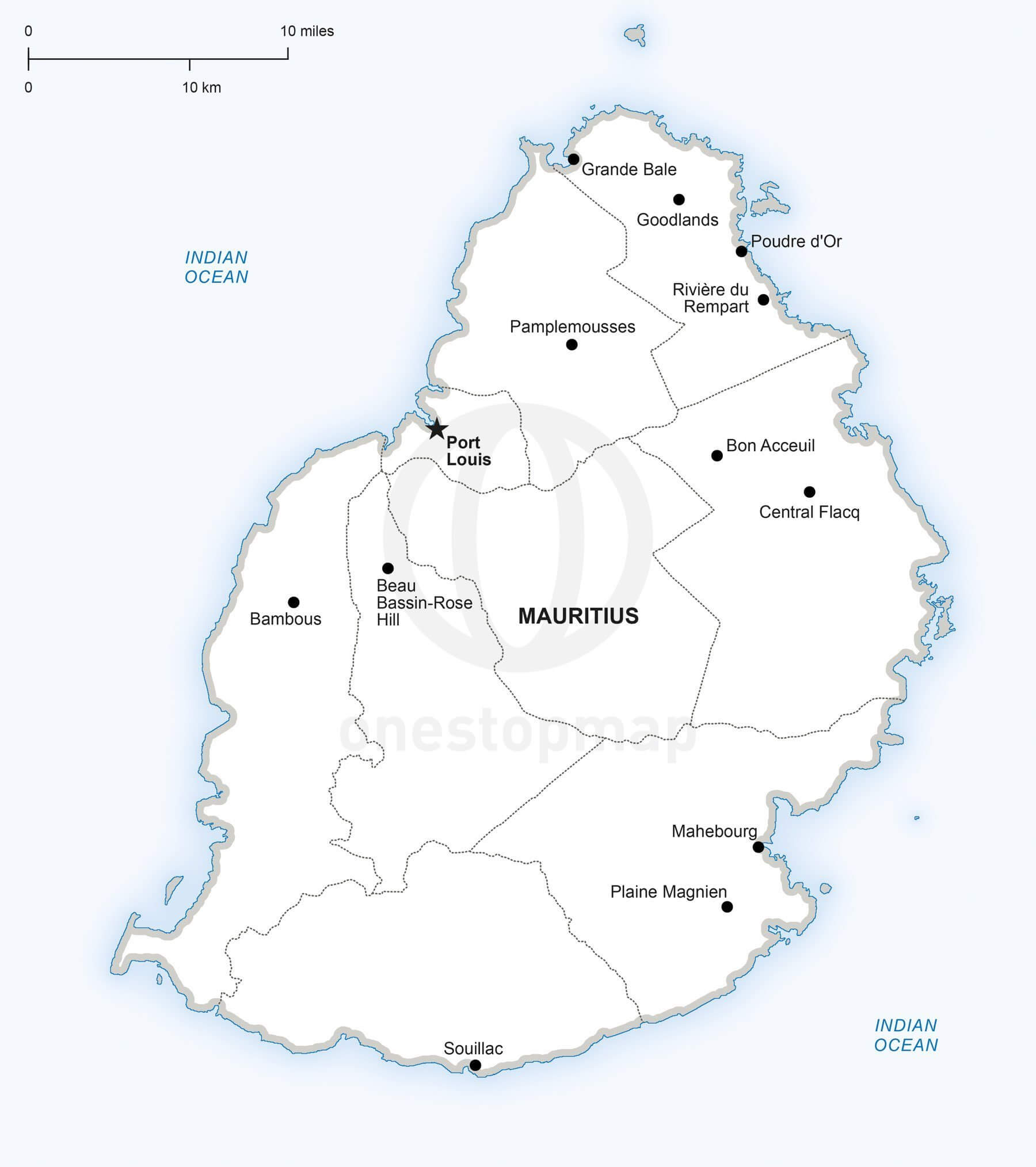 Vector map of Mauritius political