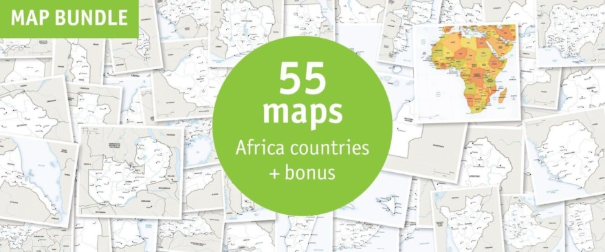 Map bundle Africa countries political defined map style