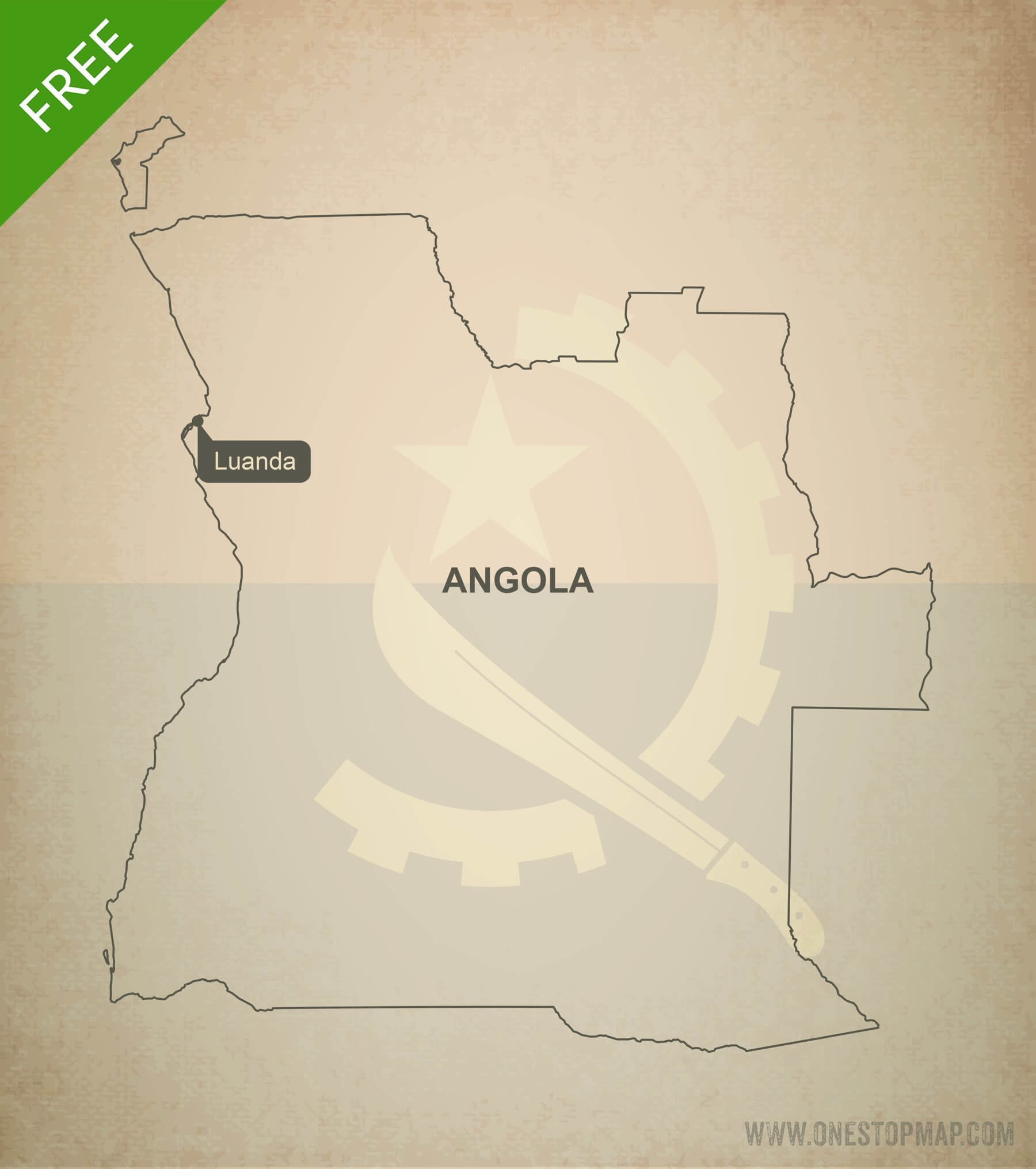 Free vector map of Angola outline