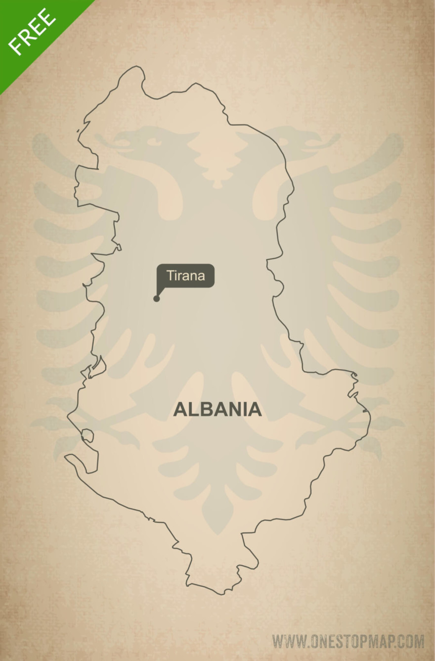 Free vector map of Albania outline