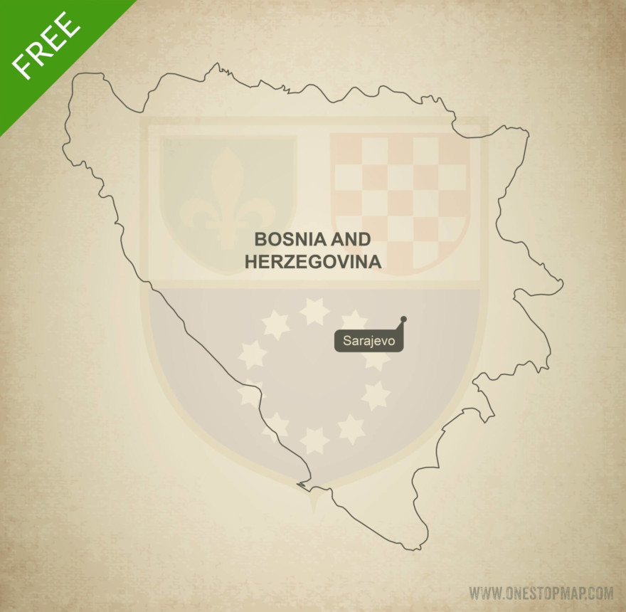 Free vector map of Bosnia and Herzegovina outline