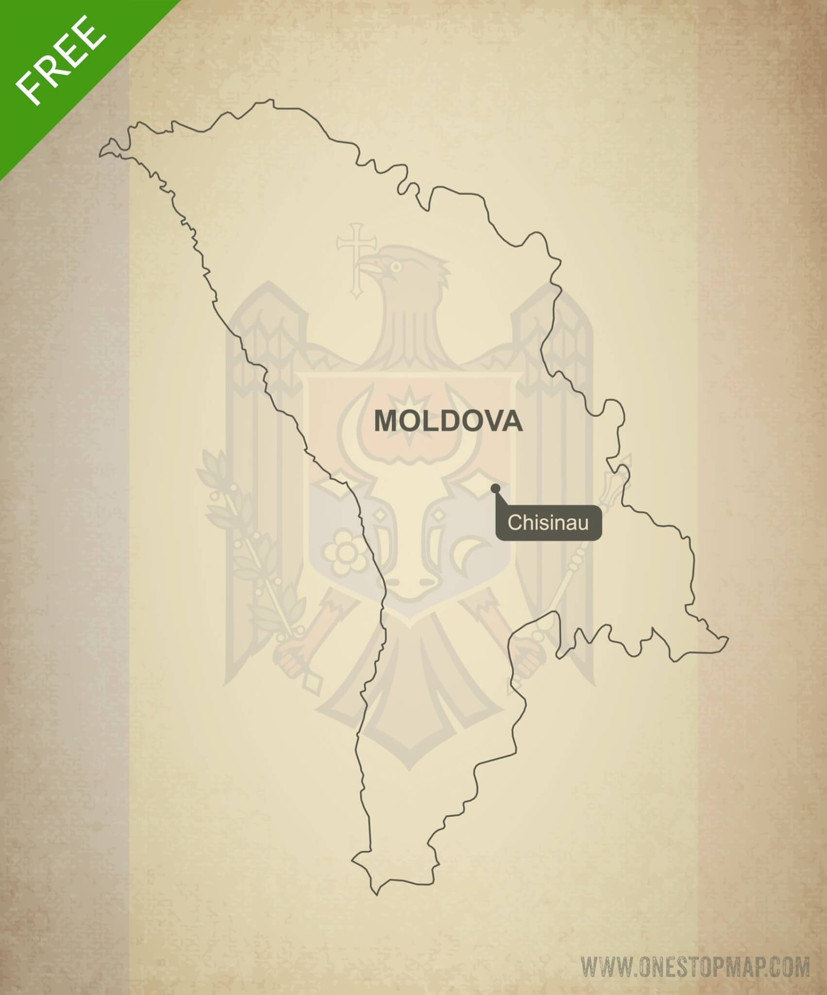Free vector map of Moldova outline