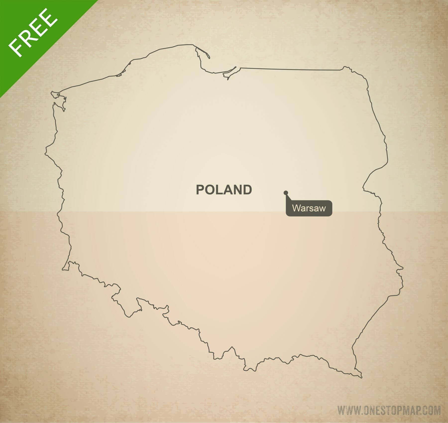 Picture of: Free Vector Map Of Poland Outline One Stop Map