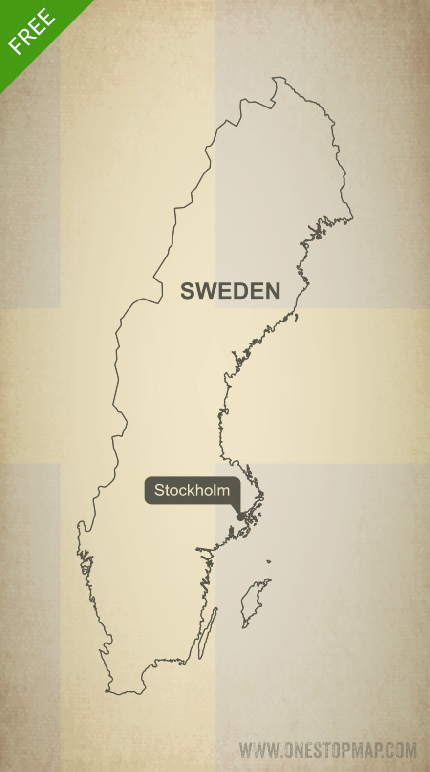 Free vector map of Sweden outline