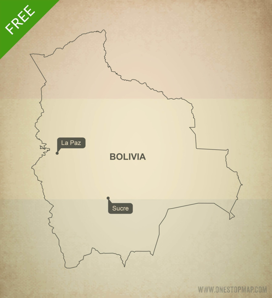 Free vector map of Bolivia outline