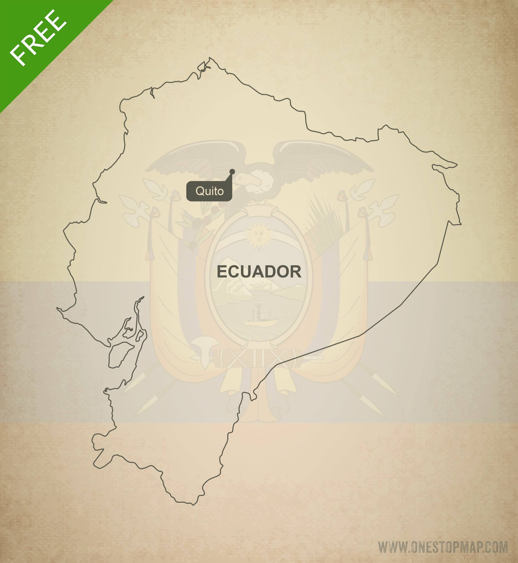 Free Vector Map of Ecuador Outline | One Stop Map