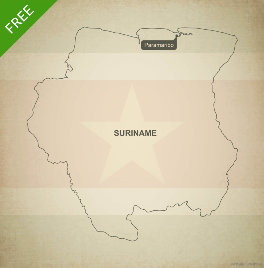 Free vector map of Suriname outline