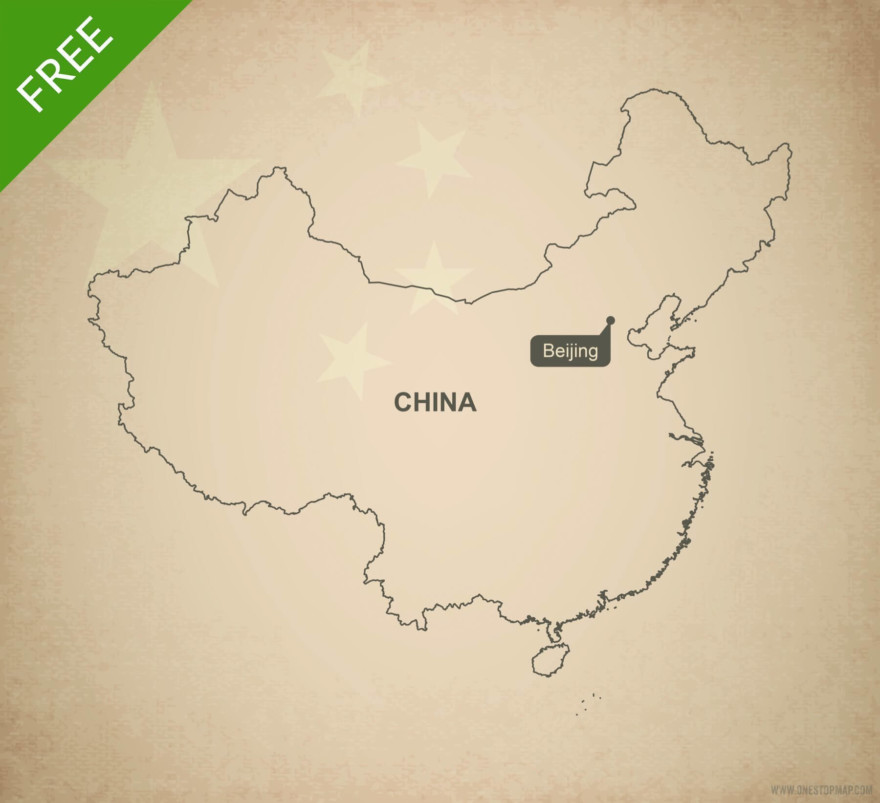 Free vector map of China outline