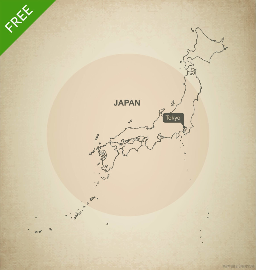Free vector map of Japan outline