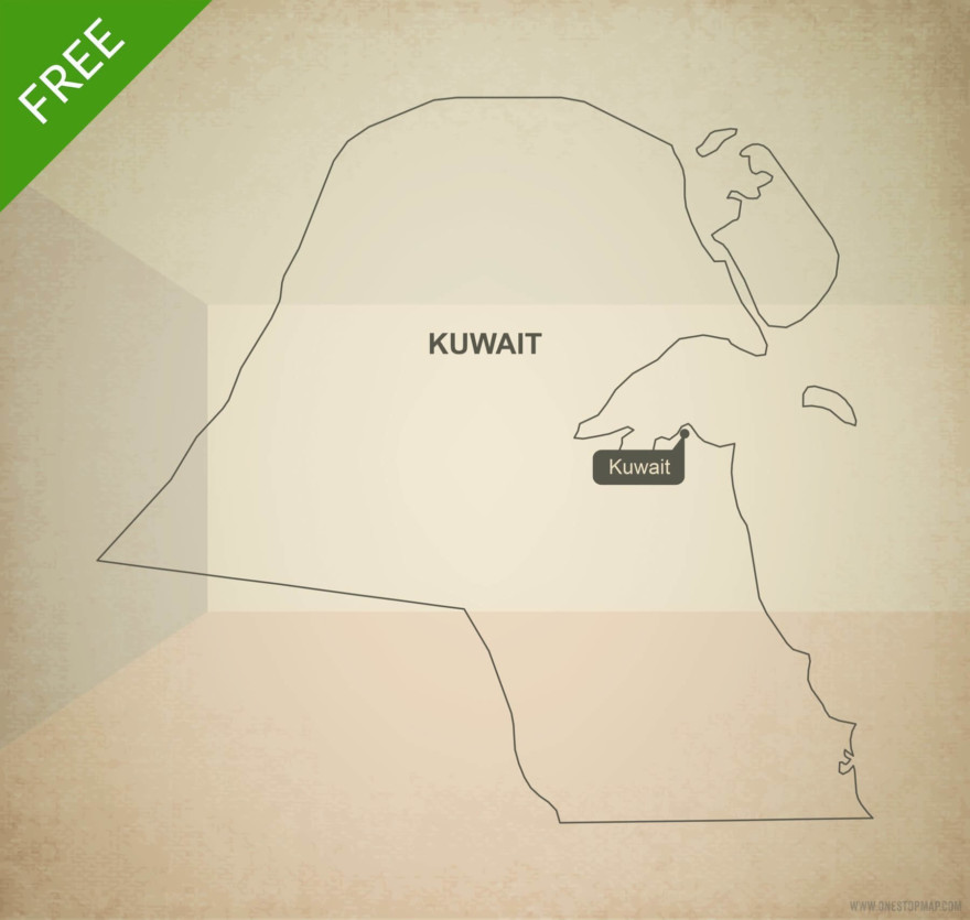 Free vector map of Kuwait outline