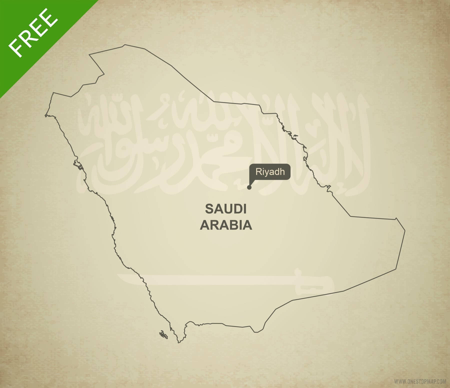 Free vector map of Saudi Arabia outline