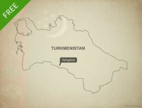 Free vector map of Turkmenistan outline