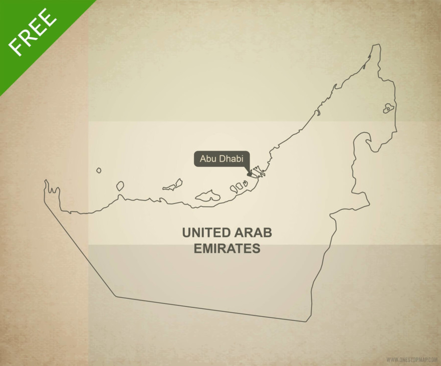 Free vector map of United Arab Emirates outline