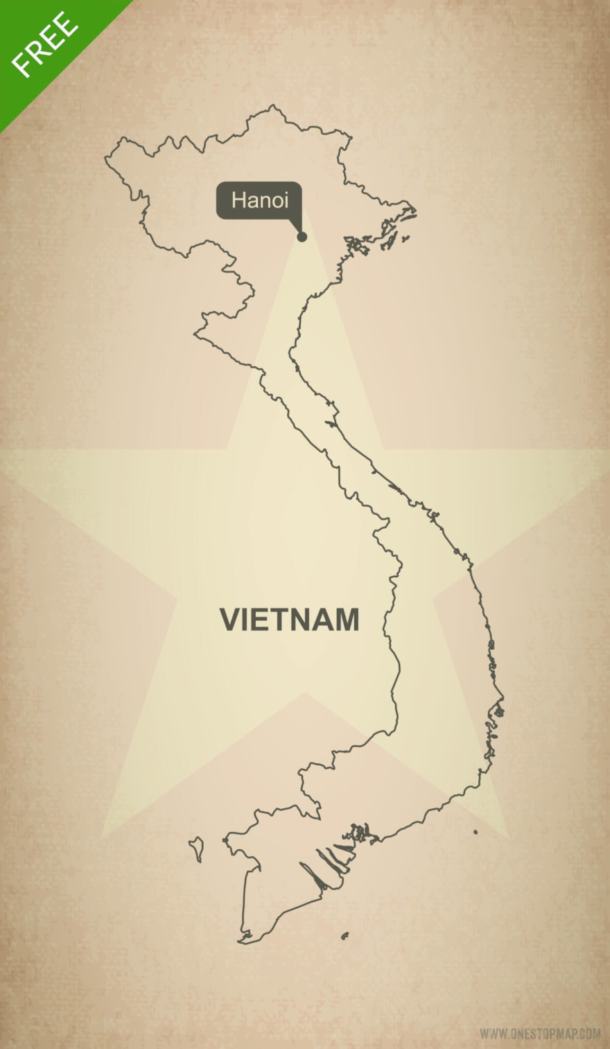 Free vector map of Vietnam outline