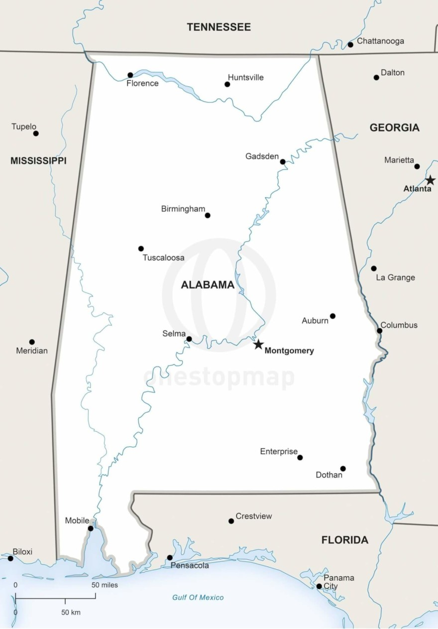 Vector map of Alabama political