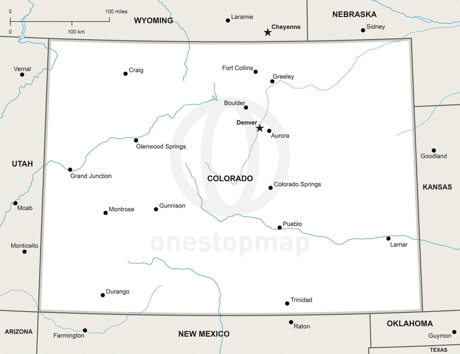 Vector map of Colorado political