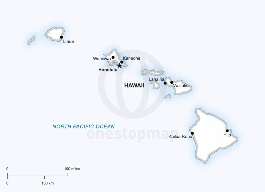 Vector map of Hawaii political