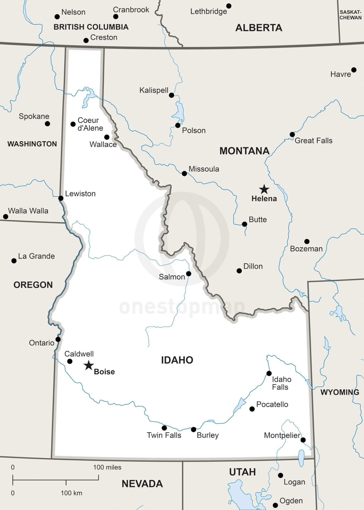 Vector map of Idaho political