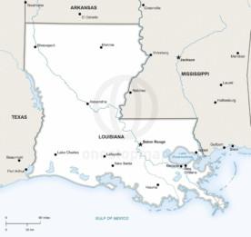 Vector map of Louisiana political