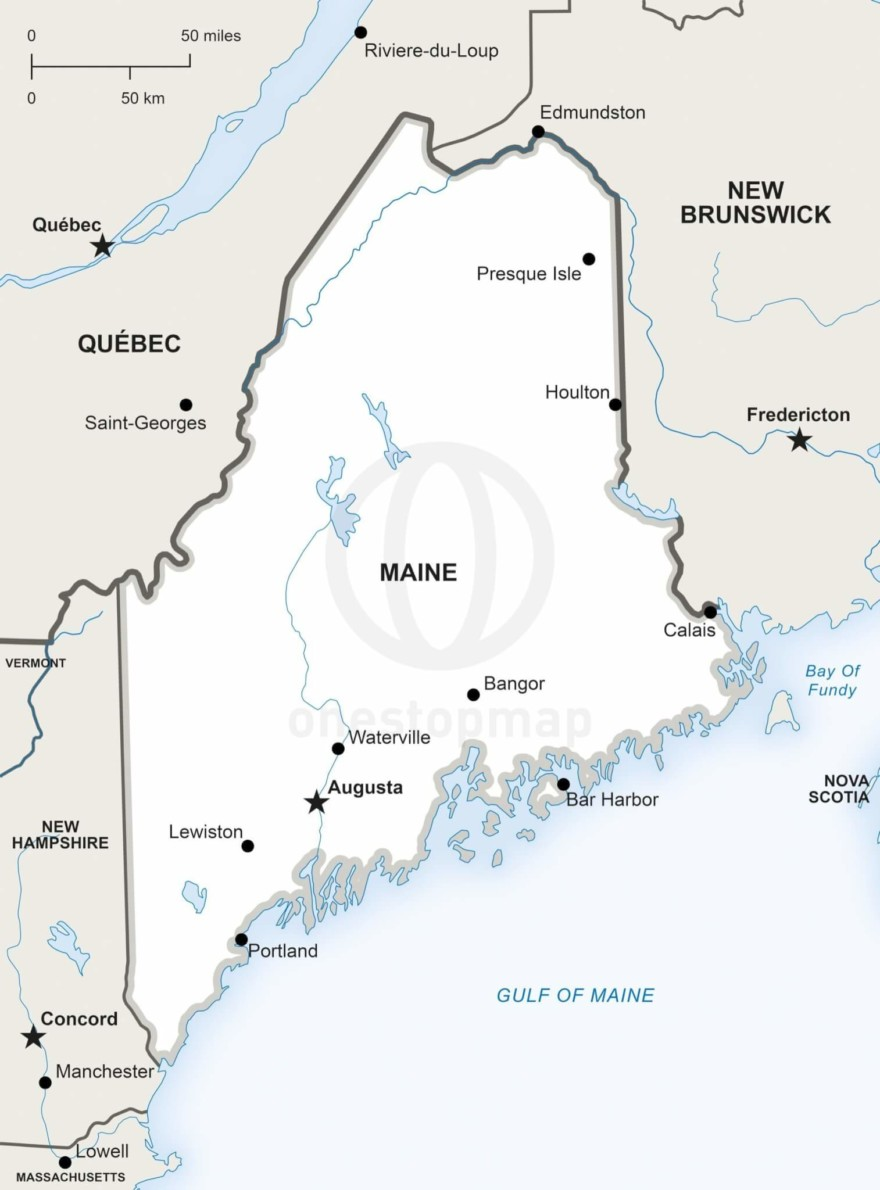 Vector map of Maine political