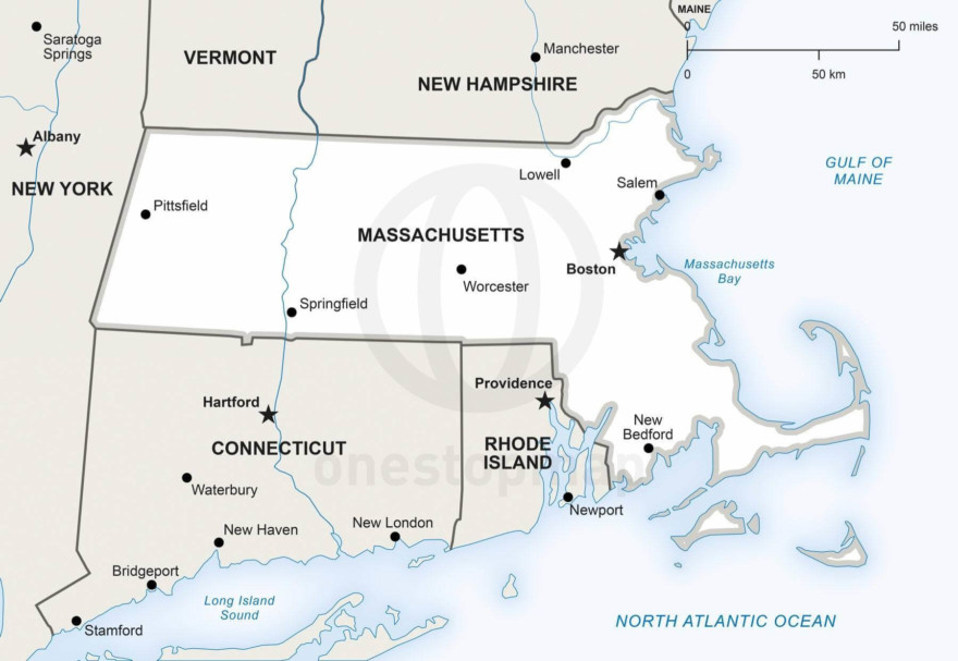 Vector map of Massachusetts political