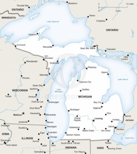 Vector map of Michigan political