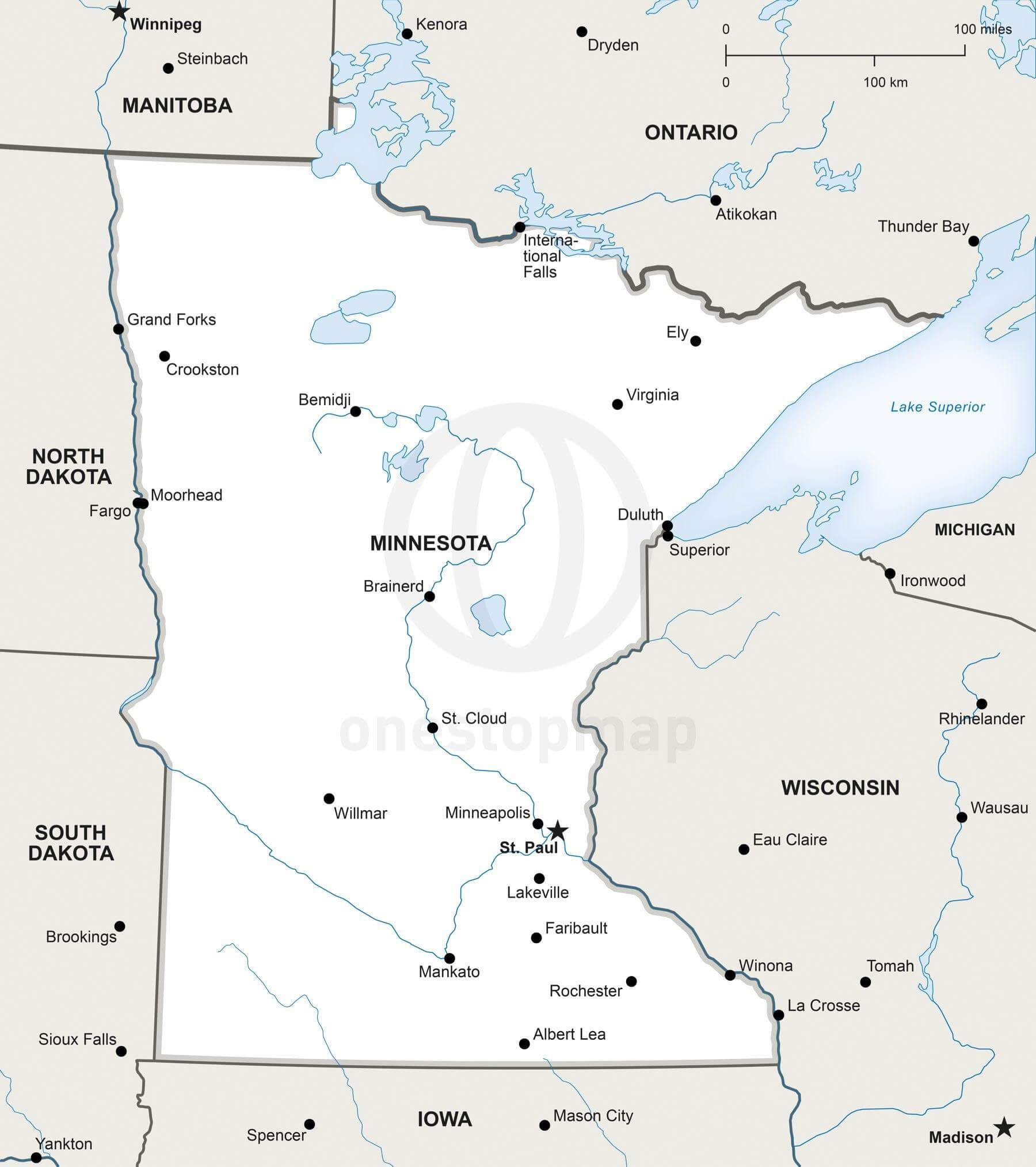 Map of Minnesota political