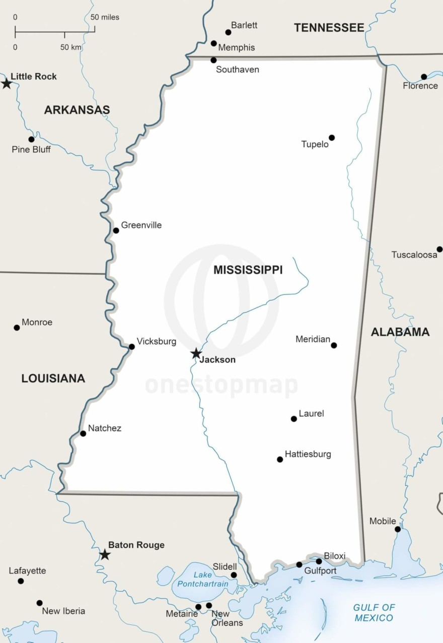 Vector map of Mississippi political