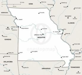 Vector map of Missouri political