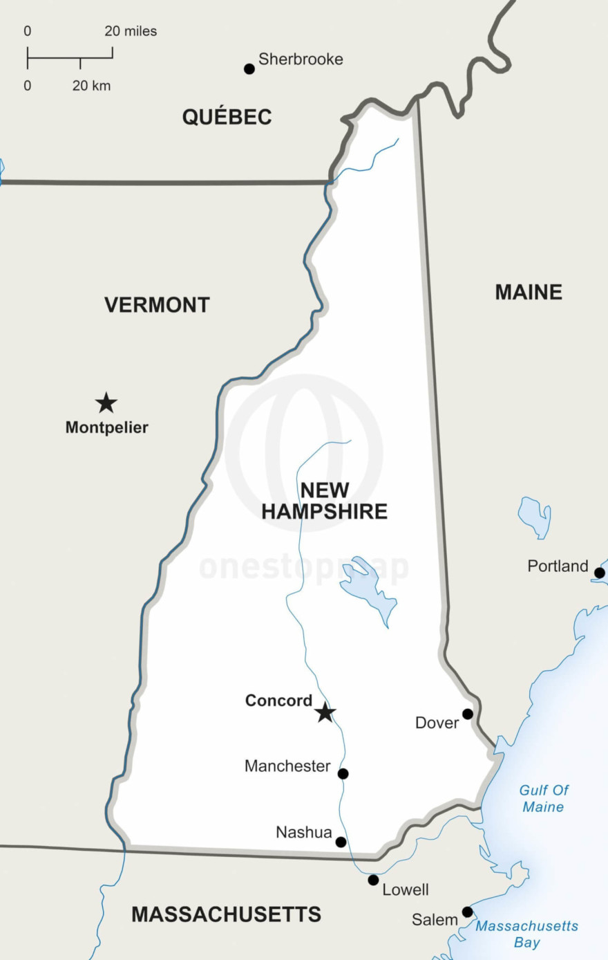 Vector map of New Hampshire political