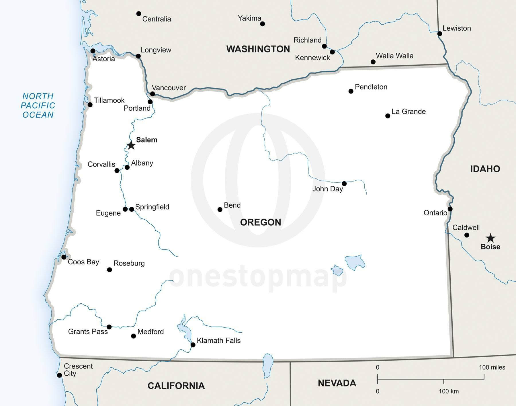 Vector map of Oregon political